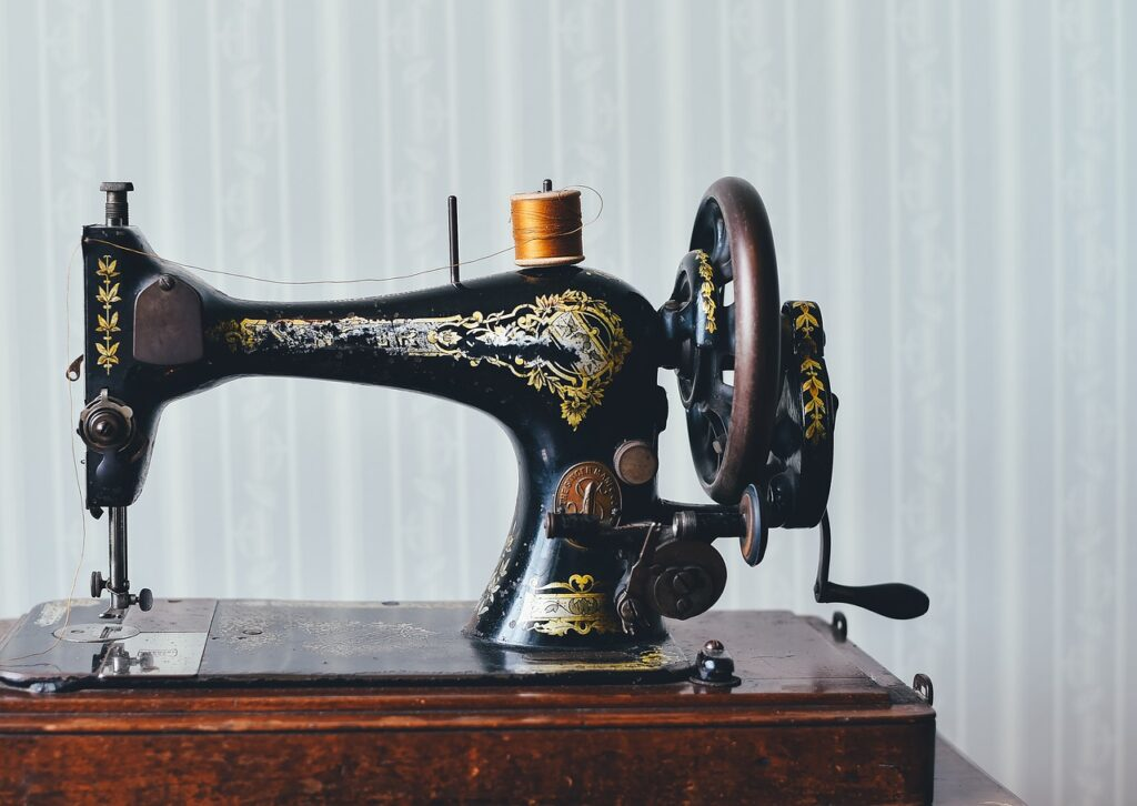 antique, sewing machine, home